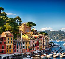 Harbor Houses of Portofino by George Oze