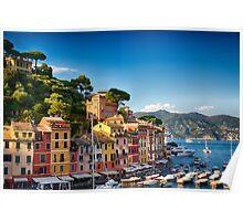Harbor Houses of Portofino Poster