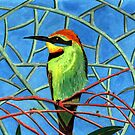 189 - AUSTRALIAN RAINBOW BEE-EATER - DAVE EDWARDS - WATERCOLOUR - 2007 by BLYTHART