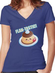 Cute Pun: Flan-tastic Flan Women's Fitted V-Neck T-Shirt