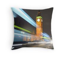 Traffic passing houses of parliament, London Throw Pillow