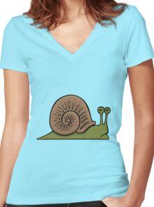 Depressed Snail Women's Fitted V-Neck T-Shirt