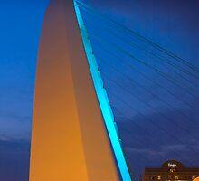 Millennium Bridge with Moon, Gateshead UK by David Lewins