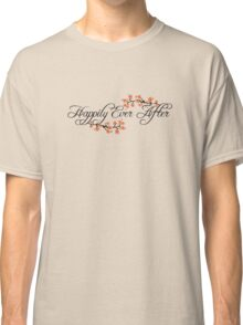 Black Script Happily Ever After Tropical Hibiscus Flower Fusion Swirls Classic T-Shirt