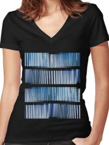 Blue Ripple Abstract Women's Fitted V-Neck T-Shirt