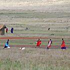 Soccer, Maasai Style, Tanzania by Adrian Paul