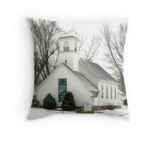 Country Church in the Snow Throw Pillow