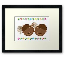 Coconut Twins With Hats Framed Print