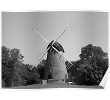 Black and White Windmill Poster
