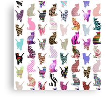 Girly Whimsical Cats aztec floral stripes pattern Canvas Print