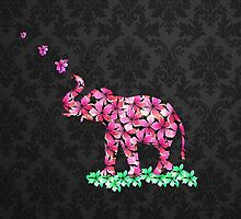 Retro Flower Elephant Pink Sakura Black Damask by GirlyTrend
