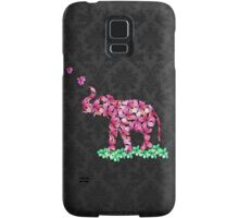 Retro Flower Elephant Pink Sakura Black Damask Samsung Galaxy Case/Skin