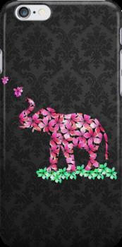 Retro Flower Elephant Pink Sakura Black Damask by GirlyTrend