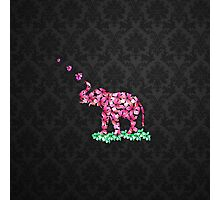 Retro Flower Elephant Pink Sakura Black Damask Photographic Print