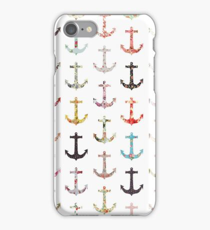 Vintage retro sailor girly floral nautical anchors iPhone Case/Skin