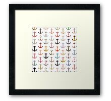 Vintage retro sailor girly floral nautical anchors Framed Print