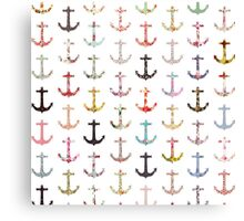 Vintage retro sailor girly floral nautical anchors Canvas Print