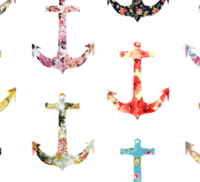 Vintage retro sailor girly floral nautical anchors Sticker
