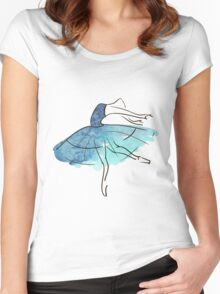 ballerina figure, watercolor Women's Fitted Scoop T-Shirt