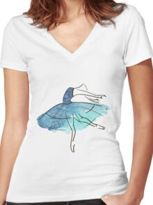 ballerina figure, watercolor Women's Fitted V-Neck T-Shirt
