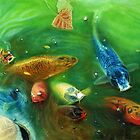 Lucky Koi Pond Color Pencil @ www.KeithMcDowellArtist.com   by © Keith McDowell, Artist