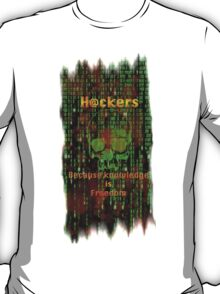 Hacker 1.1 - Knowledge is Freedom skull and matrix - Software, coding and hacking designs T-Shirt