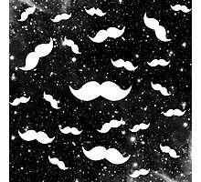 White Space Funny Mustaches on Black Galaxy Nebula Photographic Print