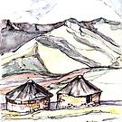 Huts in Lesotho, Southern Africa by Santie Amery