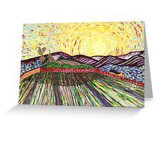 Wheat Field with Rising Sun Greeting Card