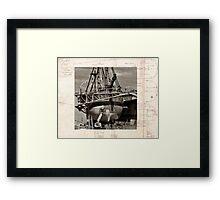 Restoration, Endevour in dry dock, Garden Island Framed Print
