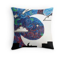 Moonlight Over the Desert Throw Pillow