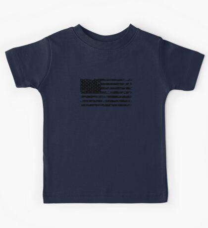 American Flag - Distressed (Black) Kids Tee