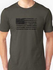 American Flag - Distressed (Black) Unisex T-Shirt