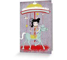 Carousel ribbon striped lighting bugs colorful whimsical streaks magic ride doll print Greeting Card