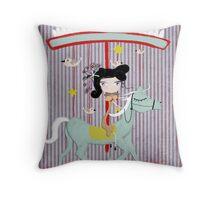 Carousel ribbon striped lighting bugs colorful whimsical streaks magic ride doll print Throw Pillow