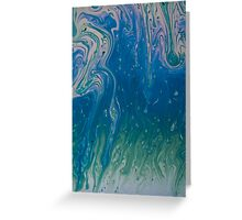 Pea green over blue  Greeting Card