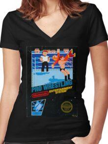 NES PRO WRESTLING Women's Fitted V-Neck T-Shirt