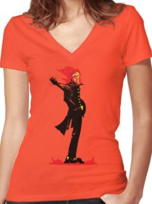 Meet me at the Crossroads and I'll make you a deal... Women's Fitted V-Neck T-Shirt