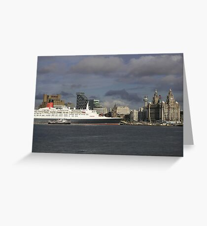 QE2 at Liverpool Greeting Card