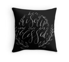 Her Children Rise up and Call Her Blessed - White on Black Throw Pillow