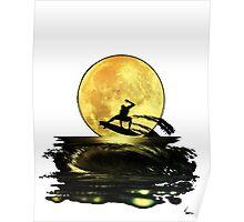 Luna tras surfer PNG Poster