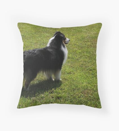 Black Tri-Color Australian Shepherd Throw Pillow