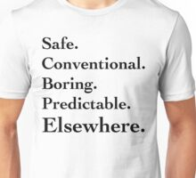 Predictable Elsewhwere - Black Lettering, Funny Unisex T-Shirt