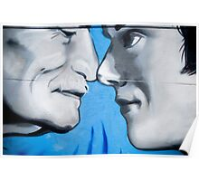 Graffiti showing Maori greeting by rubbibg noses ( Hongi) Poster