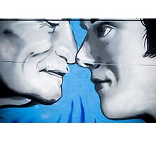 Graffiti showing Maori greeting by rubbibg noses ( Hongi) Photographic Print