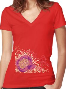 peony flowers Women's Fitted V-Neck T-Shirt