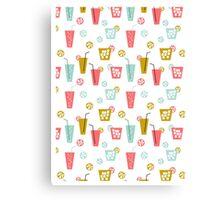 Happy Hour - Drinks cocktails art design illustration modern bright happy bar tiki hawaii island  Canvas Print