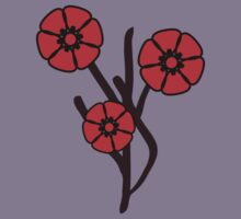 Three red flowers Kids Clothes