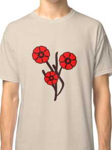 Three red flowers Classic T-Shirt