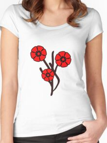 Three red flowers Women's Fitted Scoop T-Shirt